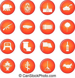 Russia icons vector set of red circles isolated on white...