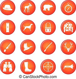 Hunting icons vector set