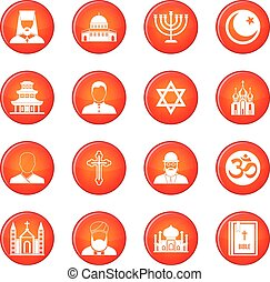 Religion icons vector set of red circles isolated on white...