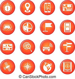 Navigation icons vector set of red circles isolated on white...