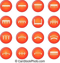 Bridge set icons vector set of red circles isolated on white...