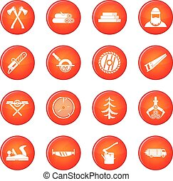 Sawmill icons vector set of red circles isolated on white...