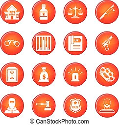 Crime and punishment icons vector set