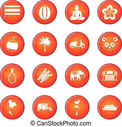 Taiwán,  vector, Conjunto, iconos
