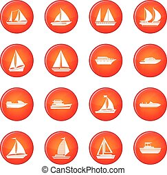 Boat icons vector set