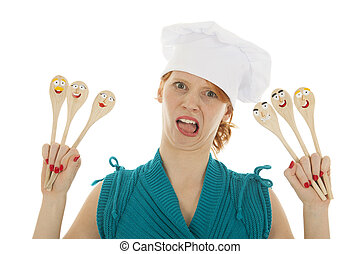 Funny as cook woman with spoons