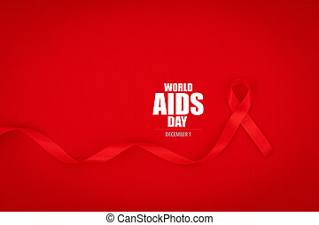 Aids Awareness Red heart Ribbon on red background . - Aids...