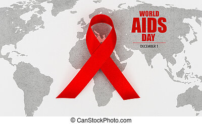Aids Awareness Red heart Ribbon on world map . - Aids...