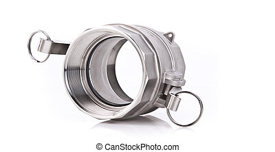 Abstract Photo of a Stainless Steel Threaded Pipe fitting