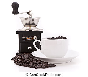 Coffee Grinder,beans and Cup
