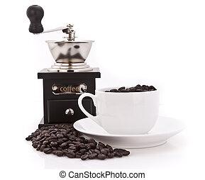 café, amoladora, frijoles, taza