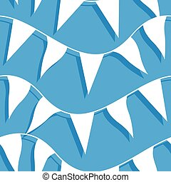 White flags on rope in a seamless pattern