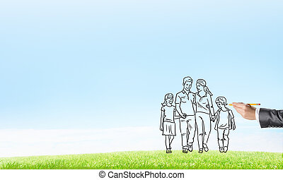 We are happy together - Hand drawn happy family in casual...