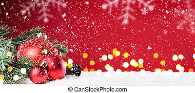 Christmas or New Year festive background - Toy balls on red...
