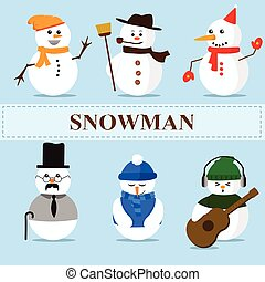 Winter christmas snowman emotions set