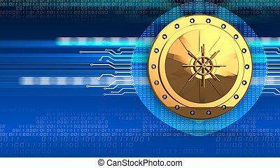 3d golden vault door - 3d illustration of golden vault door...