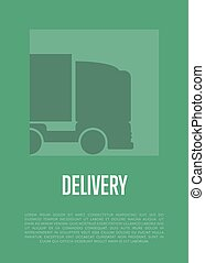 Delivery banner with truck silhouette