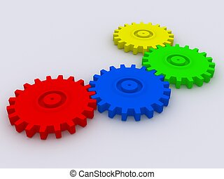 3d gears - 3d rendered illustration of some colorful gears