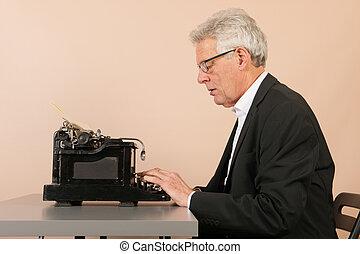 anticaglia, anziano, uomo, Macchina scrivere