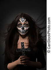 Glamour version of Santa Muerte. Sexy model posing - Glamour...