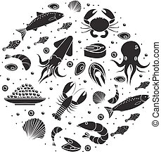 Seafood icons set in round shape, black silhouette. Sea food collection isolated on white background. Fish products, marine meal design element. Vector illustration.