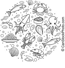 Seafood icons set in round shape, line, sketch, doodle style. Sea food collection isolated on white background. Fish products, marine meal design element. Vector illustration.