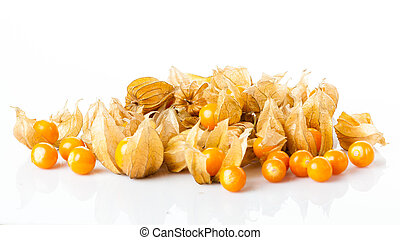 Ripe physalis isolated on a white background.  Physalis peruviana