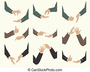 actions of hand movements - set of emotions and actions of...
