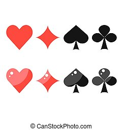 Playing card suits spades, hearts, diamonds and clubs.