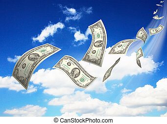 Dollar bills fly in flocks in the sky against a background...