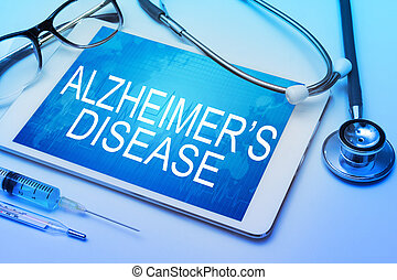 Alzheimers Disease word on tablet screen with medical...
