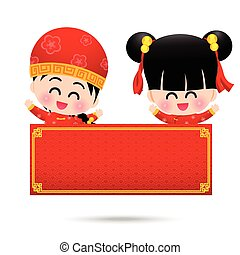 Chinese boy and chinese girl cartoon have smile with blank sign fro copy space on the white background vector illustration eps10 002