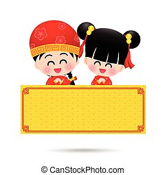 Chinese boy and chinese girl cartoon have smile with blank sign fro copy space on the white background vector illustration eps10
