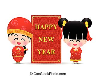 Chinese boy and chinese girl cartoon have smile with sign and word happy  new year for design and decoration on the white background vector illustration eps10 002