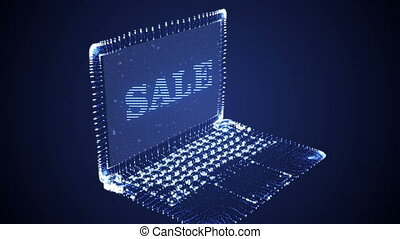 Laptop Hologram with SALE text - Blue glowing laptop...