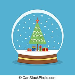 Snow globe with a Christmas tree inside.