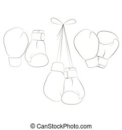 Boxing gloves. Equipment for boxing, protection hand. Vector...