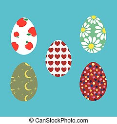 Easter eggs - Set of Easter egg stickers - vector