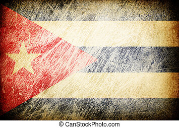 Grunge rubbed flag series of backgrounds. Cuba.