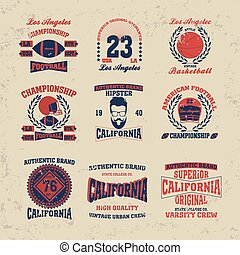 los angeles typography fashion set vintage, t-shirt graphics...
