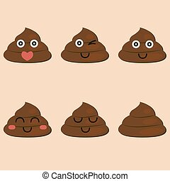 set of cut poop emoticon