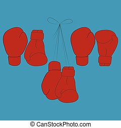 Boxing gloves - Vector illustration of red boxing gloves in...
