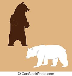 bears - brown and white bears - vector