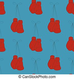 Boxing gloves - Red boxing gloves on a blue background...