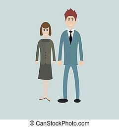 business people - man and woman - dressed in suits Isolated
