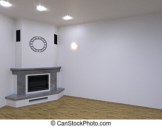 Corner marble fireplace. 3D render - Corner marble fireplace...