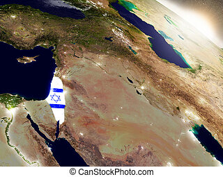 Israel with flag in rising sun - Israel with embedded flag...
