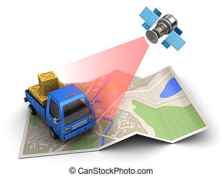 cargo tracking - 3d illustration of cargo delivery tracking...