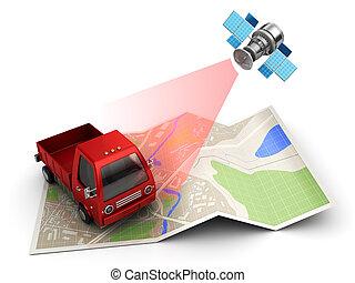 cargo tracking - 3d illustration of satellite cargo or truck...