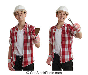 Cute teenager boy over white isolated background - Set of...